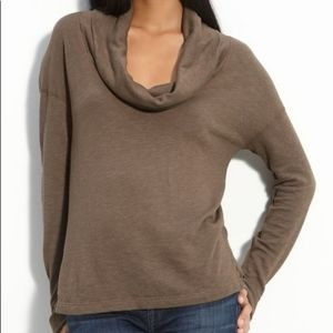 Standard James Perse Sweater Top Brown Cowl Neck